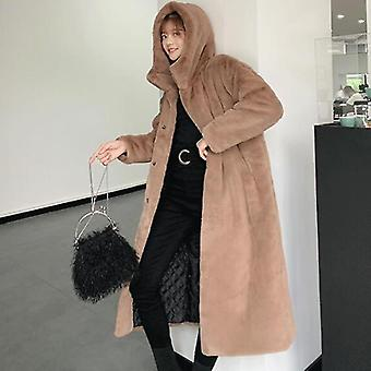 Téli nők kiváló minőségű műnyulak szőrme kabát