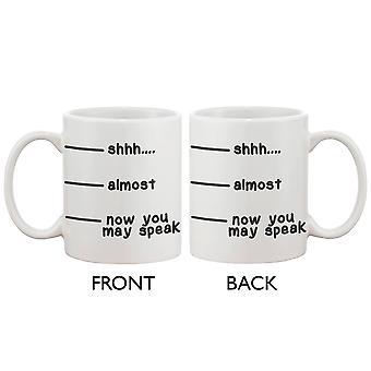 Søt Kaffekrus Cup - hysj nesten nå du kan snakke morsom keramisk kaffe krus