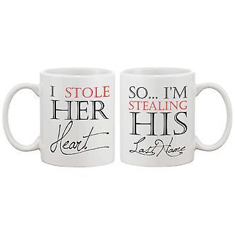 Jeg stjal hendes hjerte, så jeg er at stjæle hans sidste navn par krus - hans og hendes matchende kaffekop Cup sæt - bryllup gave