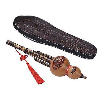 Chinesische handgemachte Hulusi Schwarz Bambus Cucurbit Flöte Ethnisches Musikinstrument Schlüssel von C mit Gehäuse
