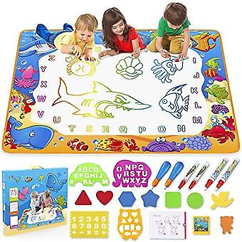 Water Drawing Mat- Kids Aqua Water Doodle Mat Toy - Colorful Bring Magic Pens Educational Toys For Age 3 4 5 6 7 8 9 10 11 12 Year Old Age Girls Boys