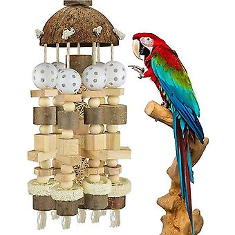 Large Bird Parrot Toy Cage Natural Wooden Blocks Bird Chewing Toy Parrot Cage Bite Toy|Bird Toys