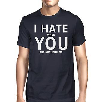 私はあなたを憎む男のメンズ ネイビー t シャツ面白い面白い引用引用