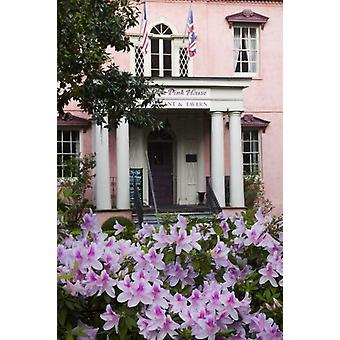USA, Georgia, Savannah, The Historic Olde Pink House in the spring. Large Framed Photo. USA,.
