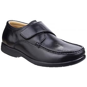 Fleet & Foster Fred Hommes Cuir Touch Attache Chaussures Noir