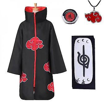 Naruto Akatsuki Cloak Anime Cosplay Costume Kit Itachi Robe Halloween Cosplay Long Cape 4 Pièces Set