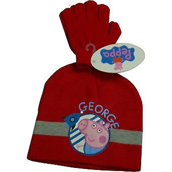 男の子ペッパピッグ ジョージ 2 個セット冬ビーニー帽子・手袋