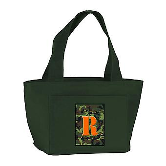 Letter R Monogram - Camo Green Zippered Insulated School Washable and Stylish Lu
