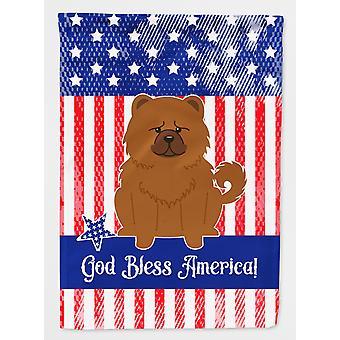Carolines skatter BB3137GF patriotiske USA Chow Chow rødt flagg hage størrelse