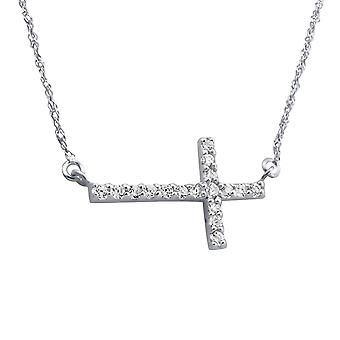 Cross Inline - 925 Sterling Silver Jewelled Necklaces - W19127X