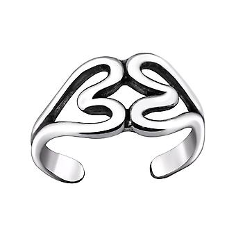 Double Heart - 925 Sterling Silver Toe Rings - W29407x