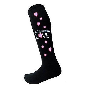 The Beatles All You Need Official Womens Black Knee High Socks (UK Size 4-7)