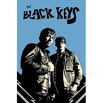 Черные клавиши черные & синий постер Плакат Печать