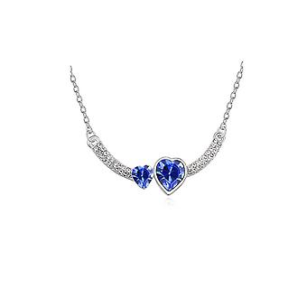 Womens Double Heart Love Dark Blue Crystal Pendant Necklace Stones