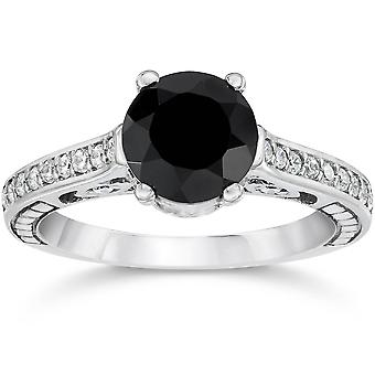1 3/4 noir & blanc Vintage Diamond Engagement Ring 14K or blanc