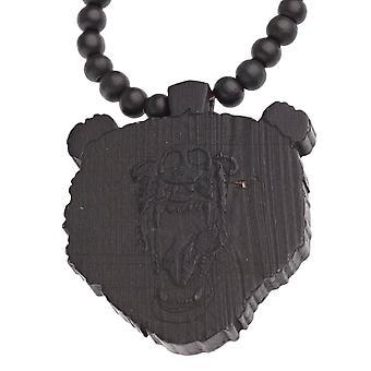 Wood style Bead Necklace - bear black