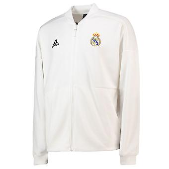 2018-2019 real Madrid Adidas ZNE volkslied jas (wit)
