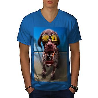 Beach Glasses Funy Men Royal BlueV-Neck T-shirt   Wellcoda