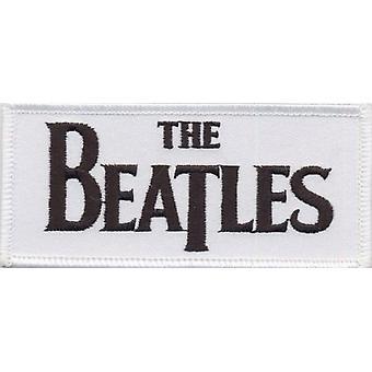 De Beatles Patch wit Drop T band Logo officiële geweven (9 cm x 4 cm)