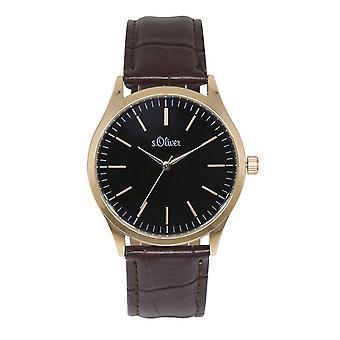 s.Oliver Herren-Armbanduhr Analog Quarz Leder IP Gold SO-15145-LQR