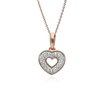 Classic Round Diamond Open Love Heart Pendant Necklace in Rose Gold Plated 925 Sterling Silver 270P025401925