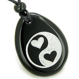 Elsker tilkobling hjerter Ying Yang magiske åndelige Amulet sort Onyx anheng halskjede