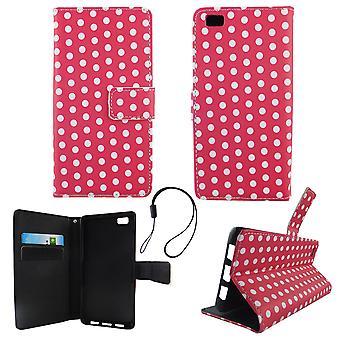 Etui téléphone portable mobile Huawei P8 Lite polka dot rose blanc