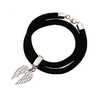 -Armbånd - armbånd - 925 sølv - leaf - svart