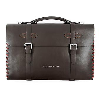 Anchor & Crew Large Deep Brown Rufford Leather And Rope Briefcase
