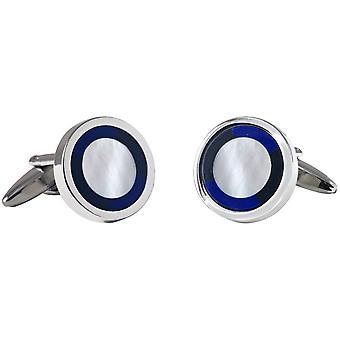 David Van Hagen sirkel mor perler og Onyx mansjettknapper - sølv/blå/hvit