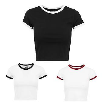 Urban Classics Damen T-Shirt Cropped Ringer Tee