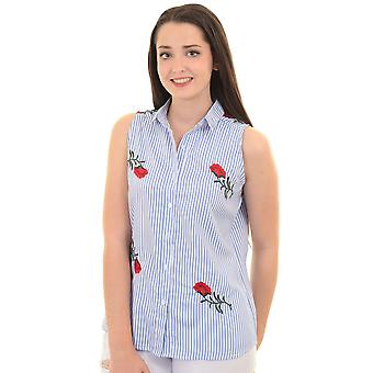 Ladies Sleeveless Floral Rose Embroidered Button Up Collared Top Shirt Blouse