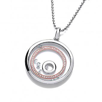 """Cavendish French Celestial Silver Saturn Rings Pendant with 24-26"""" silver chain"""