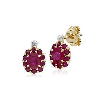 Gemondo 9ct Gelb Gold Ruby & Diamond Oval Cluster Ohrstecker