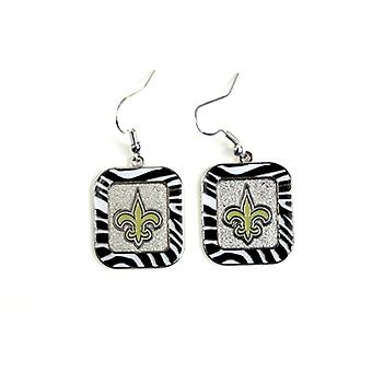 New Orleans Saints NFL Zebra Style Dangle Earrings