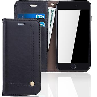 Cell phone cover case voor Apple iPhone 7 cover wallet Pouch zwart