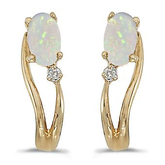 LXR 14k Yellow Gold Oval Opal and Diamond Wave Earrings 0.16ct