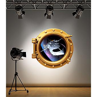 Full Colour Brass Porthole Space Ship Wall Sticker