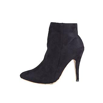 LMS czarne zamszowe szpilki wskazał Zip do butów za kostkę