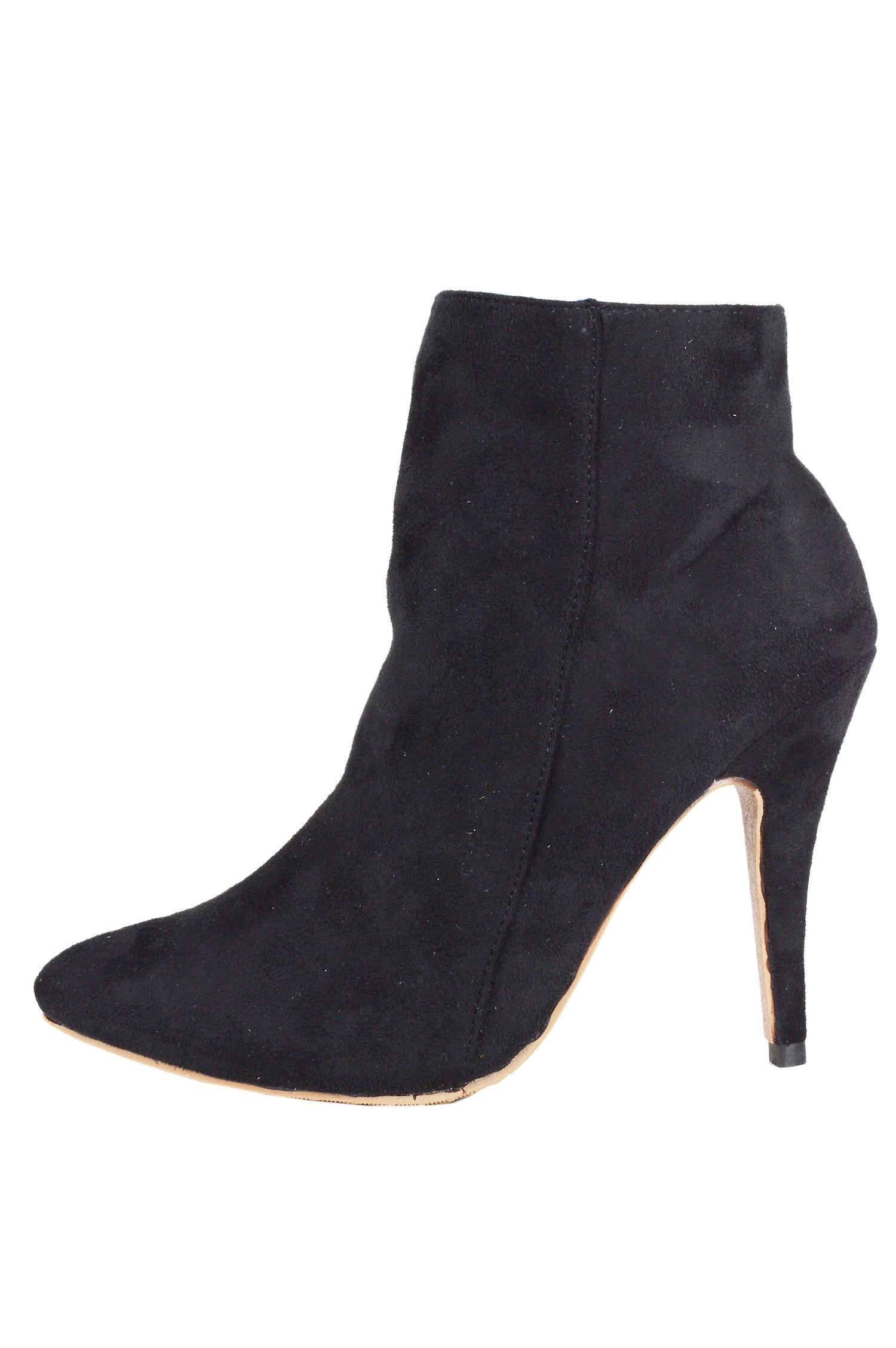 LMS Black Suede High Heel Pointed Zip Up Ankle Boot