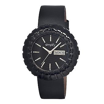 Simplify The 2100 Leather-Band Ladies Watch w/Date - Black/Silver