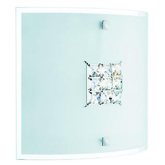 Quadrex Square Flush Ceiling / Wall Light With Crystals - Searchlight 2150-30
