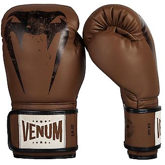 Venum Giant Hook and Loop Sparring Training Boxing Gloves - Brown/Black
