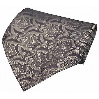 David Van Hagen Victorian Wallpaper Silk Handkerchief - Silver/Grey