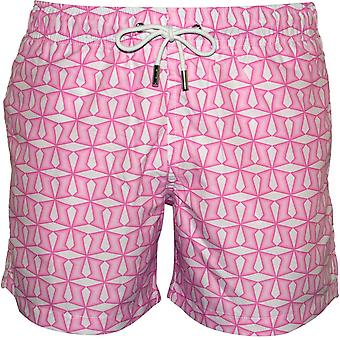 Apres Geometric Print Swim Shorts, Soft Pink