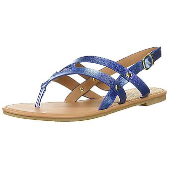 Qupid Womens Athena Fabric Closed Toe Casual Ankle Strap Sandals