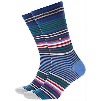 Burlington Stripe Socks - Blue/Red/Grey