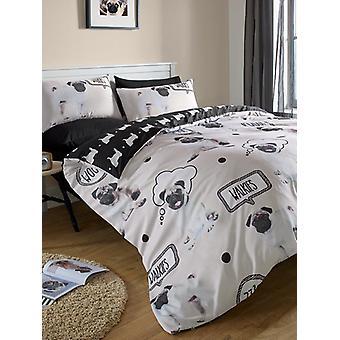Mops Walkies Bettbezug und Kissenbezug Set