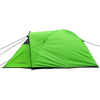 Charles Bentley 2 Man Waterproof Camping Tent & Awning Built Outdoor - Grey