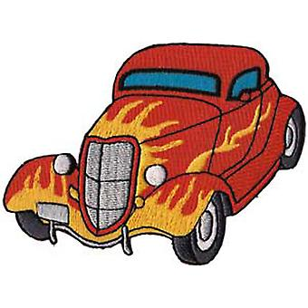Patch - Automoblies - Red Hot Rod with Flames Iron On Gifts New Licensed p-3801